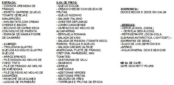 Cardapio Chaminé Centro Médico